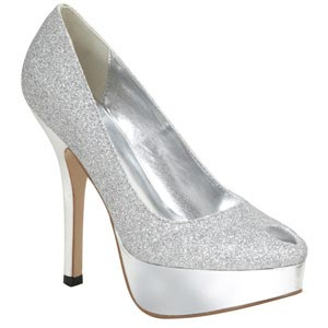 Lava Shoes Womens Britney Silver Glitter Platforms Prom and Evening Shoes