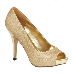 Lava Shoes Womens Mylie Gold Glitter Peep/Open Toe Prom and Evening Shoes