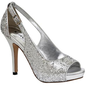 Lava Shoes Womens Lindsey Silver Sequin Pumps Prom and Evening Shoes
