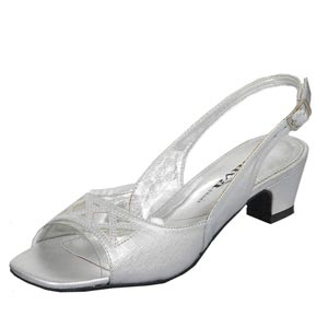 Lava Shoes Womens Impress Silver Satin Sling Back Prom and Evening Shoes