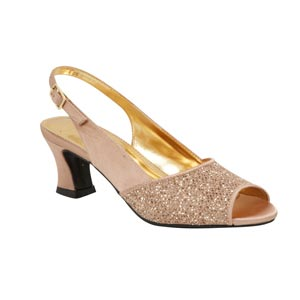 Lava Shoes Womens Dawn Gold Glitter Peep/Open Toe Prom and Evening Shoes