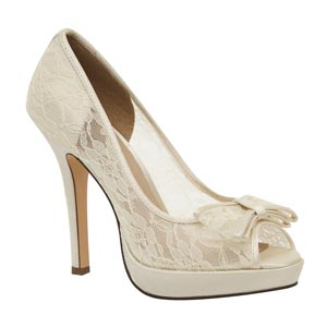 Brianna Leigh Womens Queen IvorySilk/Lace Silk Peep/Open Toe Wedding Shoes