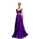 Johnathan Kayne Womens 410 Purple Beaded  Prom Dresses