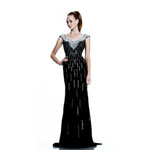 Johnathan Kayne Womens 519 Black Jersey  Prom Dresses