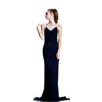 Johnathan Kayne Womens 524 Navy Chiffon  Prom Dresses