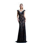 Johnathan Kayne Womens 535 Navy Lace  Prom Dresses
