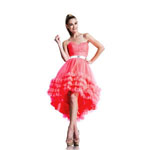 Johnathan Kayne Womens 544 HotCoralWhite Tulle  Prom Dresses