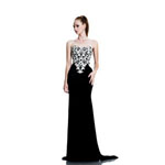 Johnathan Kayne Womens 561 BlackIvory Velvet  Prom Dresses