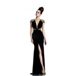 Johnathan Kayne Womens 581 BlackMulti Jersey  Prom Dresses