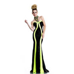Johnathan Kayne Womens 584 BlackNeonYellow Sequin  Prom Dresses