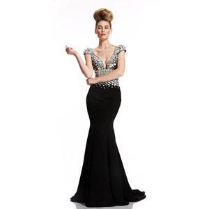 Johnathan Kayne Womens 400 Black Chiffon  Prom Dresses