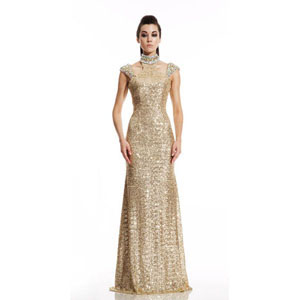 Johnathan Kayne Womens 491 Gold Synthetic  Prom Dresses