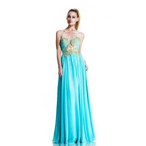 Johnathan Kayne Womens 502 AquaGold Chiffon  Prom Dresses