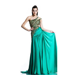 Johnathan Kayne Womens 503 Green Chiffon  Prom Dresses