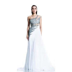 Johnathan Kayne Womens 503 White Chiffon  Prom Dresses