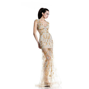 Johnathan Kayne Womens 521 Nude Mesh  Prom Dresses