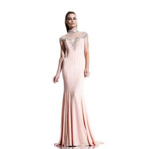 Johnathan Kayne Womens 523 Peach Jersey  Prom Dresses