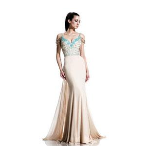 Johnathan Kayne Womens 529 ChampagneAqua Jersey  Prom Dresses