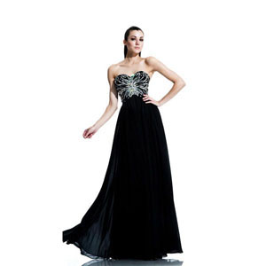 Johnathan Kayne Womens 548 Black Chiffon  Prom Dresses