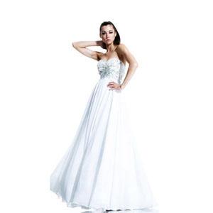Johnathan Kayne Womens 548 White Chiffon  Prom Dresses