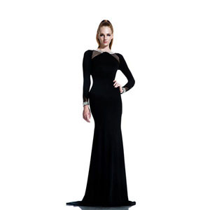 Johnathan Kayne Womens 559 Black Jersey  Prom Dresses