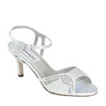 Dyeables Womens Ariana White Satin Sandals Wedding Shoes