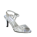 Dyeables Womens Ariana SilverMetallic Satin Sandals Wedding Shoes