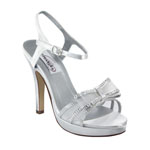 Dyeables Womens Pippa White Satin Platforms Wedding Shoes