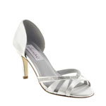 Dyeables Womens Quinn White Satin Sandals Wedding Shoes