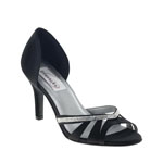 Dyeables Womens Quinn Black Satin Sandals Prom and Evening Shoes