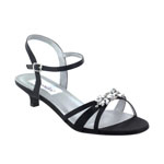 Dyeables Womens Penelope Black Satin Sandals Prom and Evening Shoes