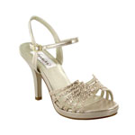 Dyeables Womens Leah Champagne Glitter Glitter Platforms Prom and Evening Shoes