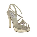 Dyeables Womens Bryce Champagne Glitter Glitter Platforms Prom and Evening Shoes
