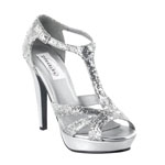 Dyeables Womens Samara Silver Glitter Glitter Platforms Prom and Evening Shoes