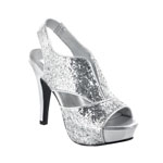 Dyeables Womens Kat Silver Glitter Glitter Platforms Prom and Evening Shoes