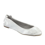 Dyeables Womens Bella White Satin Ballet Wedding Shoes