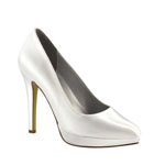 Dyeables Womens Lisa White Satin Pumps Wedding Shoes