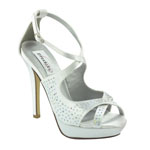 Dyeables Womens Sonya White Satin Platforms Wedding Shoes