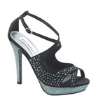 Dyeables Womens Sonya Black Satin Platforms Prom and Evening Shoes