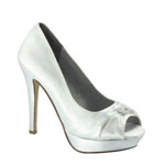 Dyeables Womens Ada White Satin Platforms Wedding Shoes