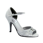 Dyeables Womens Nora Silver Satin Platforms Prom and Evening Shoes