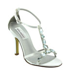 Dyeables Womens Kenzie White Satin Sandals Wedding Shoes