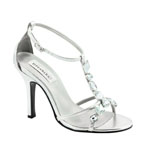 Dyeables Womens Kenzie Silver Metallic Metalllic Sandals Prom and Evening Shoes