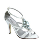 Dyeables Womens Heidi White Satin Sandals Wedding Shoes