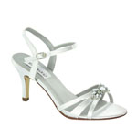 Dyeables Womens Peach White Satin Sandals Wedding Shoes