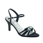 Dyeables Womens Peach Black Satin Sandals Prom and Evening Shoes