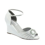 Dyeables Womens Etta White Satin Wedge Wedding Shoes