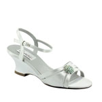 Dyeables Womens Cassie White Satin Sandals Wedding Shoes