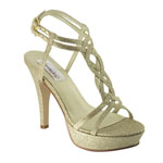 Dyeables Womens Vivi Gold Glitter Glitter Platforms Prom and Evening Shoes