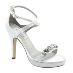 Dyeables Womens Lilac White Satin Sandals Wedding Shoes